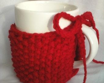 Seed Stitch Knit Mug Cozy - Cherry Red