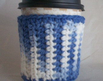 Crocheted Coffee Cup Cozy Sleeve - Periwinkle Blue White