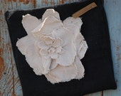 Sale Black Burlap Pillow Cover with Shabby Linen Flower