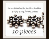 Antique Sterling Silver Rajasthani Rondelle Beads - 10 pieces of 6x1mm