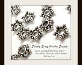 6mm Antiqued Sterling Silver Bali Star Bead Caps - .925 Sterling Silver - 30 pieces