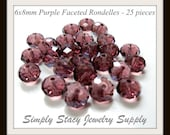 6x8mm Multi-Faceted Purple Crystal Rondelles - 25 pieces