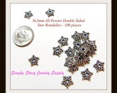 8x2mm Antiqued Silver Pewter Double Sided Star Bali Style Rondelles - 100 pieces