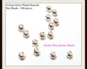 3x2mm Silver Plated Smooth Star Beads - Pack of 100