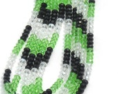 Black, Peridot and Clear Micro-Faceted Crystal Rondelles - 4x6mm - Full Strand (79-80 pieces loose)