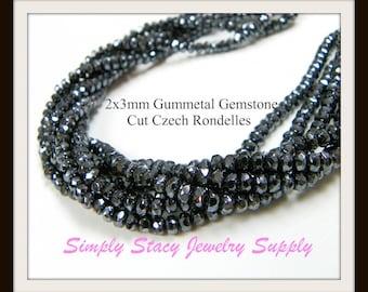 2x3mm Gunmetal Gemstone Cut Fire Polished Czech Crystal Rondelles- 25 pieces