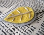 Yellow and Grey Leafy Hair Pin