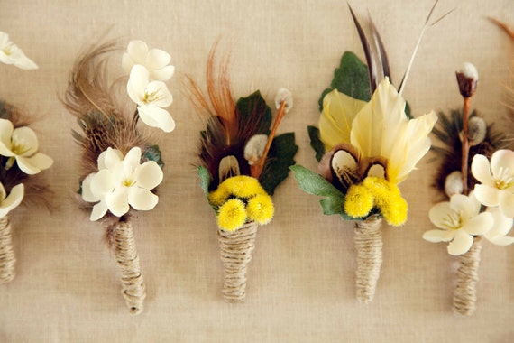 Natural Boutonnieres for Groom and Groomsmen, Custom Made