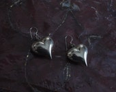 Vintage Heart Valentine Chunky Earrings in Silver Tone for Young WomenV