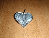 Vintage Valentine Heart Brooch Signned Trifari Silver Tone for Women