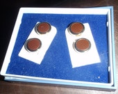 Vintage Button Toppers Four For Men In Amber Brown