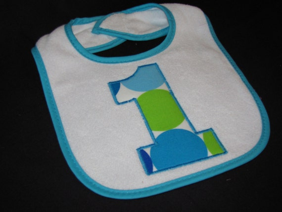 Custom 1st Birthday Bib in Blue Disco Dots - Emboirdered with Baby's Name