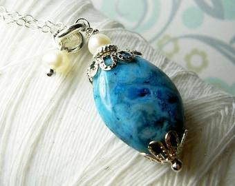 Crazy For Crazy Agate - blue agate necklace / blue stone necklace / pearl necklace / blue gemstone / aqua necklace / agate necklace /