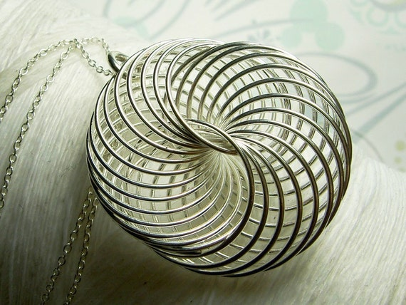 Spirograph - spiral wire pendant and sterling silver necklace