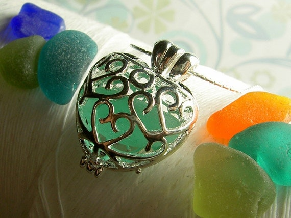 Worry Locket - vintage rare colors seaglass filigree heart locket with sterling silver necklace