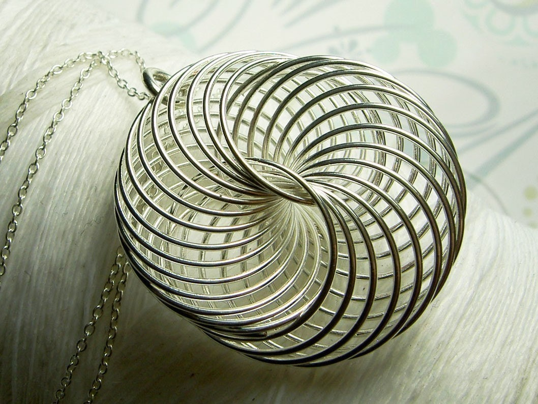 Spirograph Spiral Wire Pendant And Sterling Silver Necklace