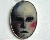 Silver Hand painted Pendant, Small Doll Face