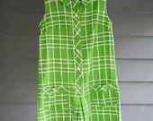 Vintage 60's  Jumpsuit Mod Romper Shorts  Lime Green Op Art  Peter Pan Collar