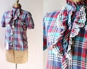 1980's Eyelet Ruffle  Shirt Vintage Plaid Back to School Fashion