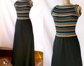 Vintage 1960's Dress  Black & Rainbow  Empire  Waist Jonatahan Logan