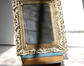 Vintage 1940's Picture Frame Ornate  Gold Filigree Intricate  Metalwork Antique Table Photo Frame 5  x 7