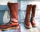 1970's Vintage  Mens Boots  Leather Tall BASS Lace Up Rugged Outdoors Rustic Woodsman Cherry Brown Size 10