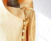 HOLD For MELISSA Vintage 1950's Coat . Yellow Tulip Swing . Side Button / Spring