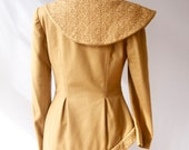 Vintage Camel Coat . Asymmetrical Wool . Made in France Couture Blazer