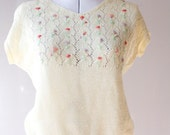 1980's Vintage Knit Top White Tiny Flower Embroidery End of Summer