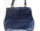 1960's Leather Tote . Navy Blue Vintage Purse . Made in Italy