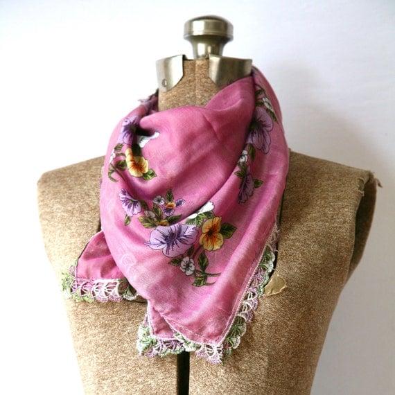 Turkish Market Scarf ( Yemeni) Lilac Purple  Floral Spring Accessory