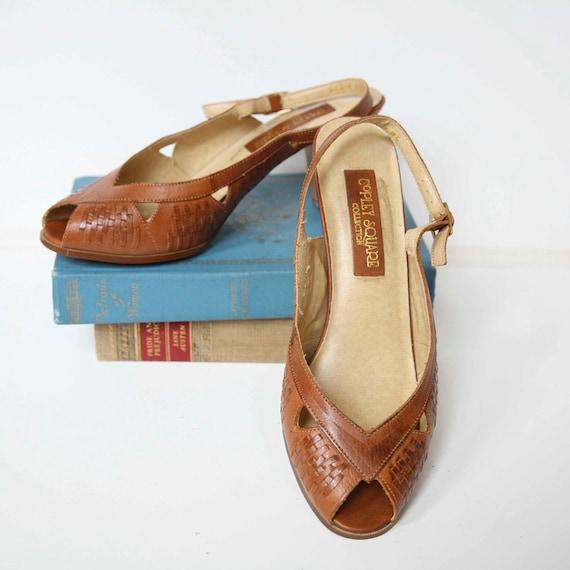 Size 6.5 - Vintage Heels 1960's Leather Slingback Peeptoe Boho Woven Hipster Secretary Cut-Out Pumps