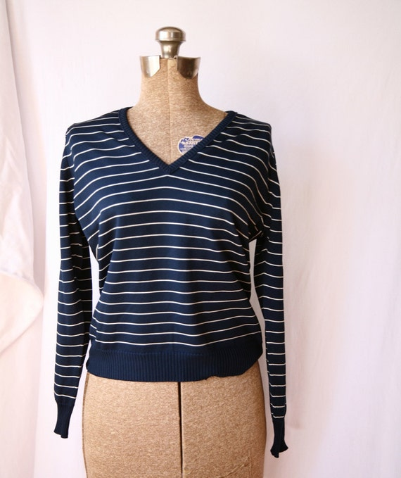 1970's blue & white stripes vintage Givenchy vneck Pullover Small