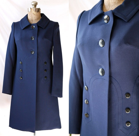 Vintage 60's Coat . Spring . Mod Slim Tailored Dark Blue Classic Lightweight  Jacket