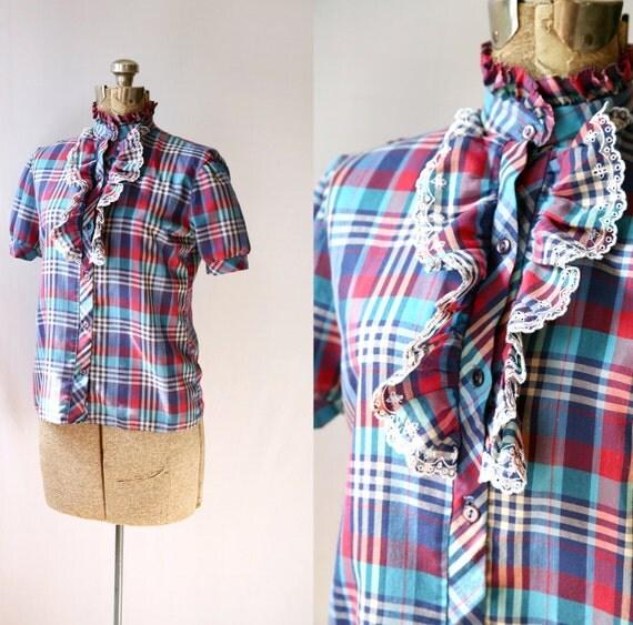 1980's Eyelet Ruffle  Shirt Vintage Plaid Back to School Fashion