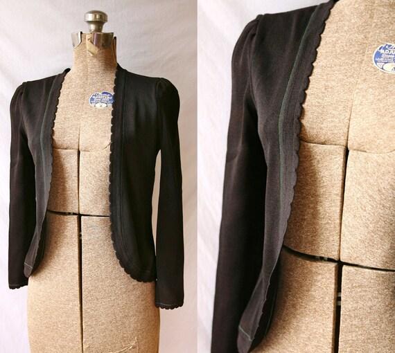 Vintage 1960's Cardigan Black Tulip  Scalloped  Feminine  Light Sweater with Bell Sleeve