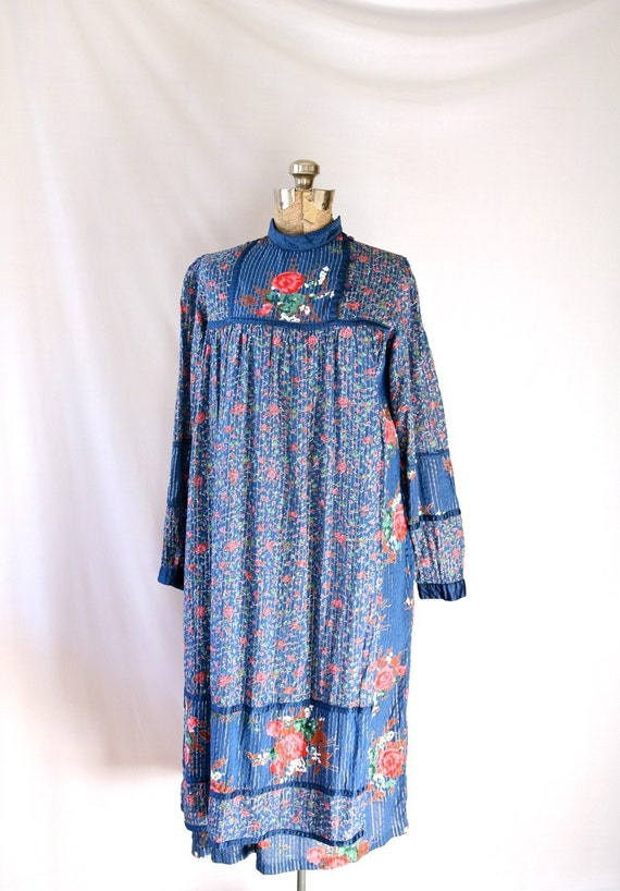 Vintage 60's Dress Metallic Blue, Long Sleeve Cotton Authentic Hippie Made in India