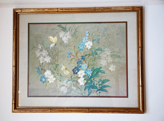 Vintage Butterfly Print, Art, Framed Wall Hanging, Gold Bamboo Chinoiserie