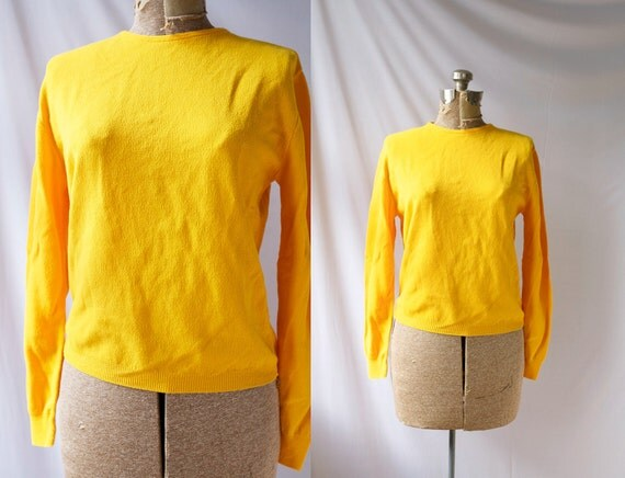 Vintage 60's Sweater Meyer Lemon Yellow Mod Jumper