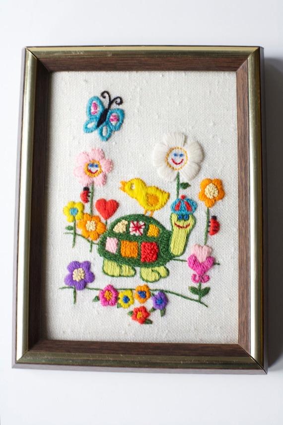 Turtle 1960's Vintage Embroidered Hippie Animals Framed Retro OOAK