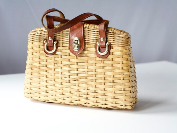 Vintage 1950's Woven Box HandBag with Leather Straps