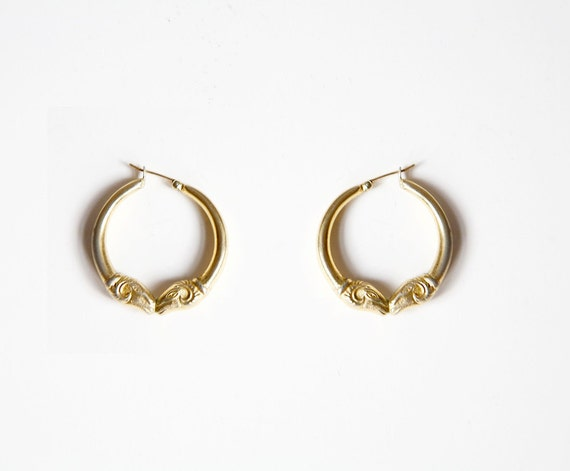 Ram Heads Vintage  Earrings Hoops  Aries Zodiac Jewelry