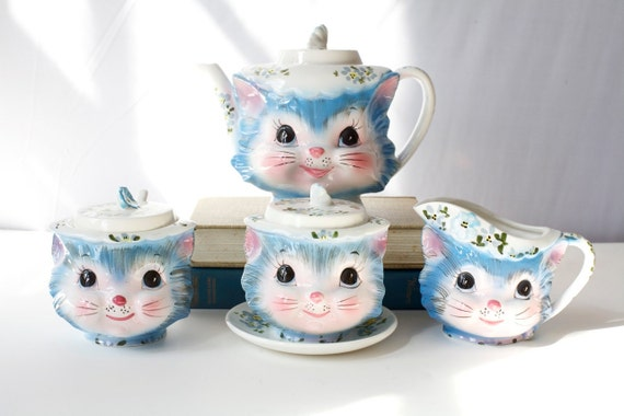 Vintage Tea Set, 1960's Miss Priss Kitty Cat , Sugar Cream Full Service, lefton