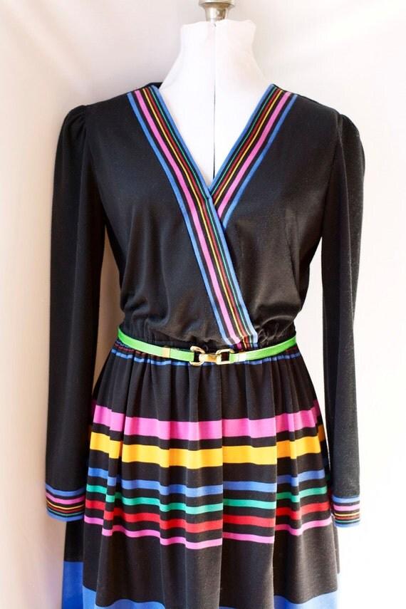 Vintage 80's Dress & Belt  . Rainbow Stripes on Black  . V-Neck