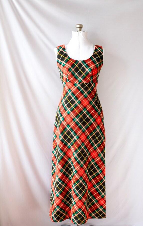 1970's  Vintage Maxidress  Plaid  Dress