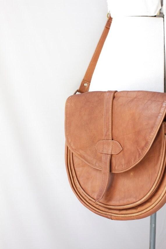 Vintage Leather Purse Cross Body Shoulder Bag Boho