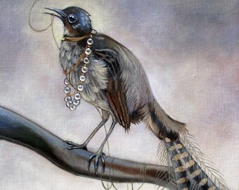Lyre bird and beetle Painting