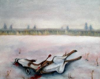 Deer original oil painting