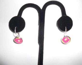 Preppy Lever Back Earrings, Lever back Earrings, Dangly Earrings, Preppy Inspired Earrings, Pink floral Dangly Lever Back Earrings, Preppy