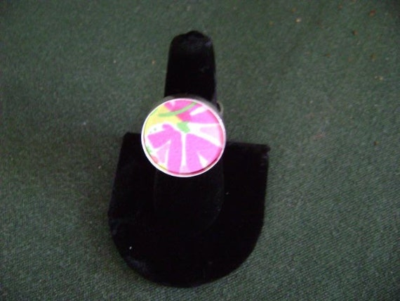 Amazing Sterling Pink Flower Ring featuring preppy fabric